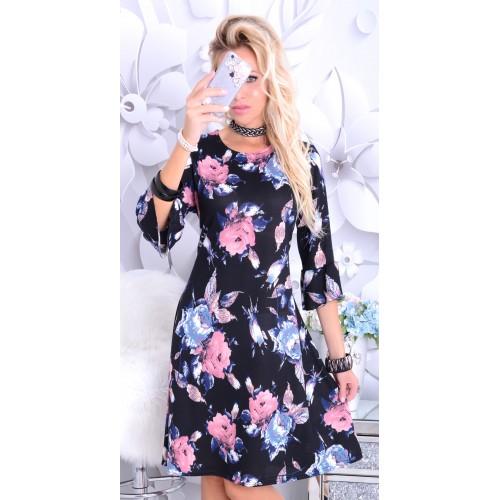 NOWOŚĆ! Modna sukienka czarna w żywe kwiaty P242
