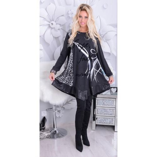 NOWOŚĆ Trapezowa sukienka z falbanką P243