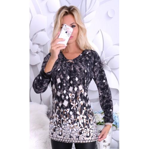 Bawełniana bluzka w modne wzory P666