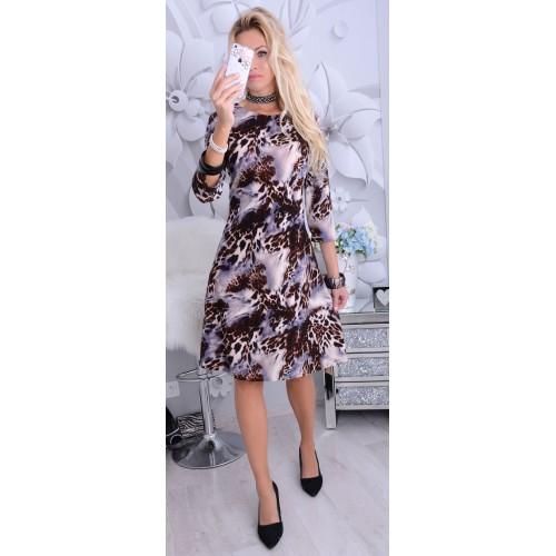 NOWOŚĆ Ciepła sukienka midi w tygrysie cętki P246