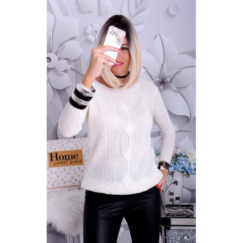 Modny sweter warkocz róż i biel P688A