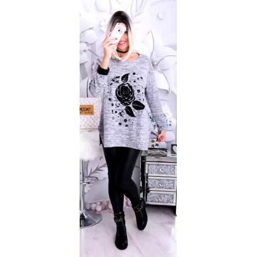 NOWOŚĆ Śliczna tunika sweterkowa róża P686A