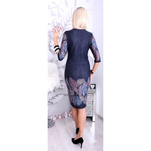 Nowość Jeansowa sukienka w piórka P221