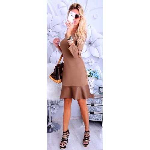 NOWOŚĆ Sukienka ze wstawką ze skóry P233