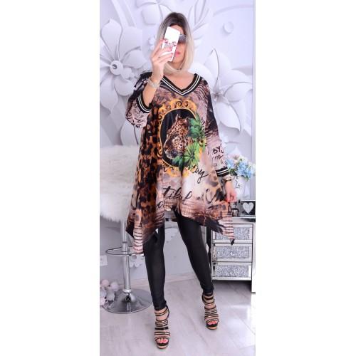 NOWOŚĆ Modna sukienka-tunika z rogami P243a