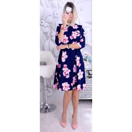 NOWOŚĆ Sukienka midi w malowane kwiaty P232A