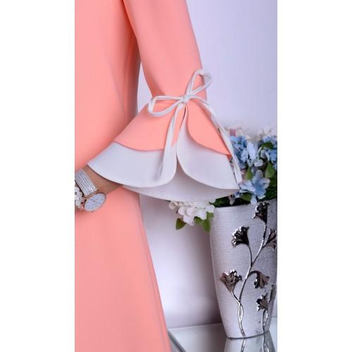 NOWOŚĆ śliczna łososiowa sukienka cud rękawy P889