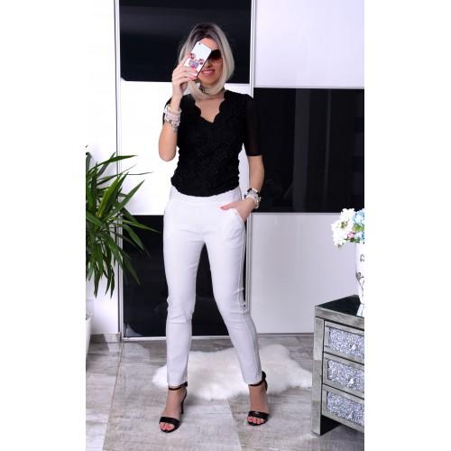 NOWOŚĆ Białe spodnie COCO z dżecikami P371
