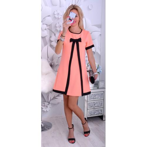 NOWOŚĆ Śliczna sukienka wstęga morelowa P885