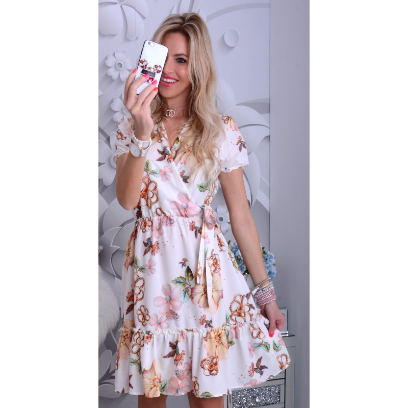 NOWOŚĆ Dziewczęca biała sukienka w kwiaty z kopertowym dekoltem P252A