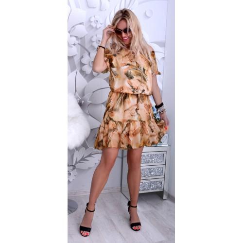 NOWOŚĆ Najmodniejsza sukienka szyfonowa beżowa P232N