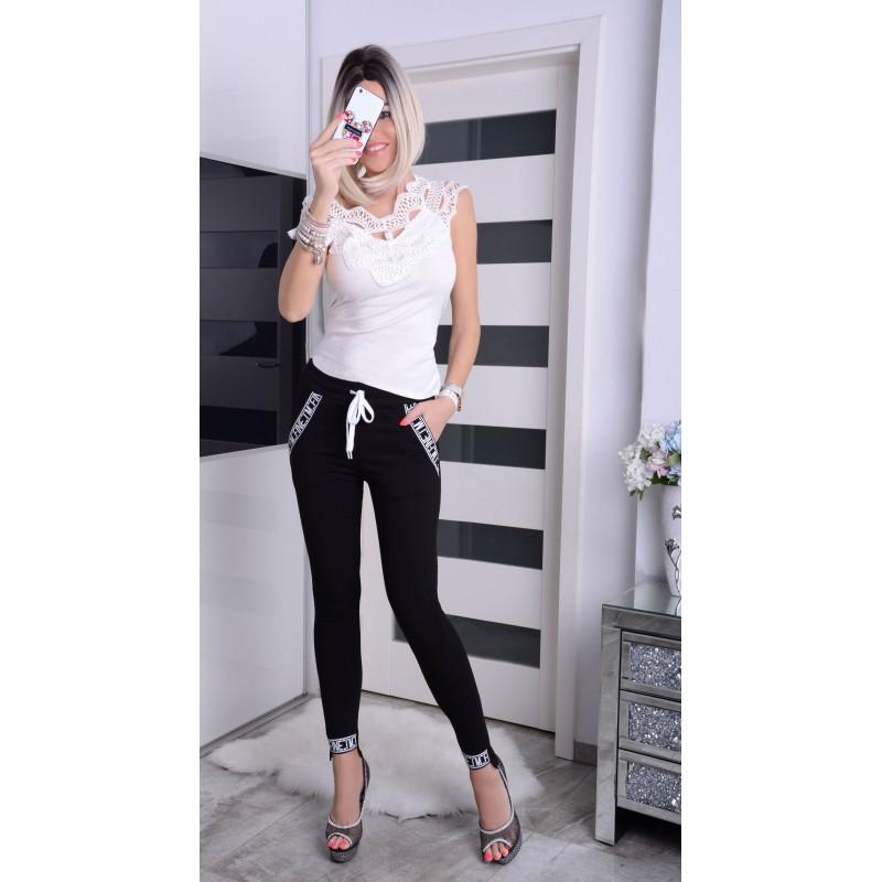 NOWOŚĆ Sexy spodnie z napisami na nogawkach P366