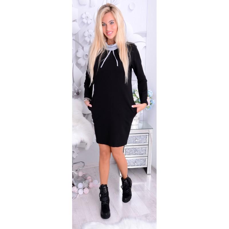 NOWOŚĆ Dresowa sukienka z troczkami P201A