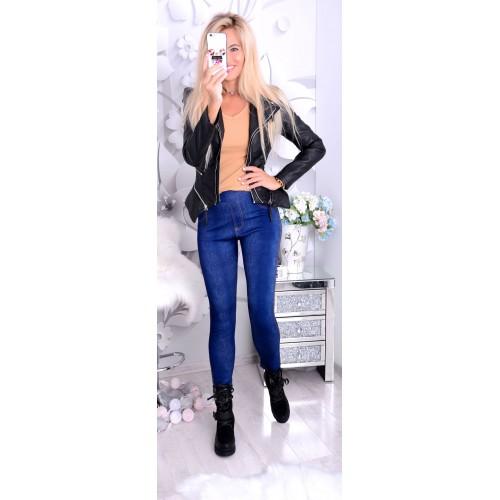 NOWOŚĆ Jeansowe legginsy polarowe P409A