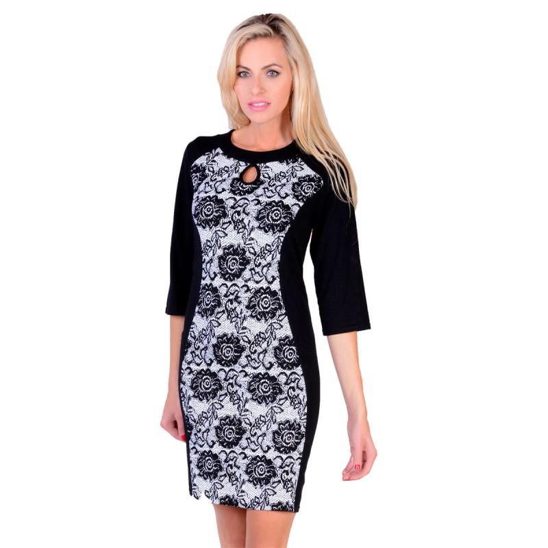 d9cbcfc261 Sukienka wyszczuplająca czarno-biała a la koronka P221 - duże rozmiary -  sklep internetowy