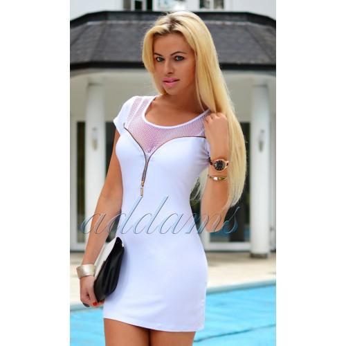 Sexy sukienka biała rozpinający dekolt siatka P268