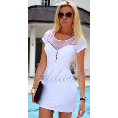 Sukienka biała rozpinający dekold P268