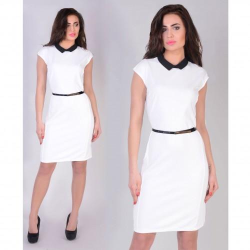 Sukienka mohito biała kołnierzyk + pasek P805
