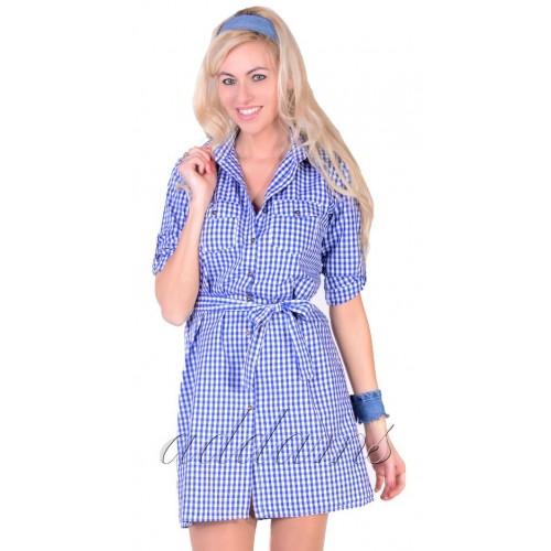 Rozpinana modna sukienka w niebieską kratkę P807