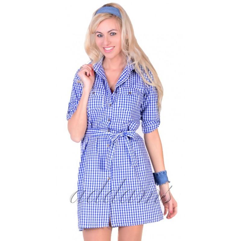 Sukienka ołówkowa kratka P807