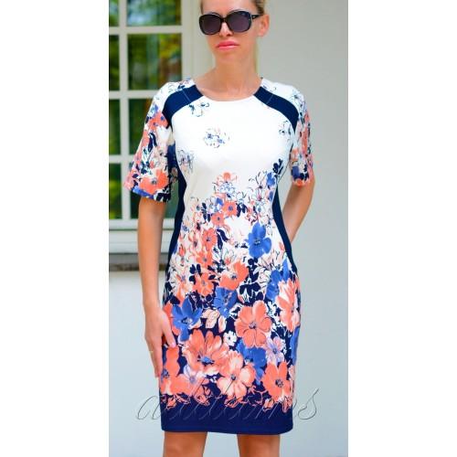 IDEAŁ sukienka dzianinowa w modne kwiaty P810