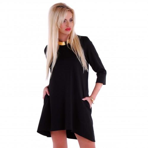 Modna czarna sukienka trapezowa styl Dior P201