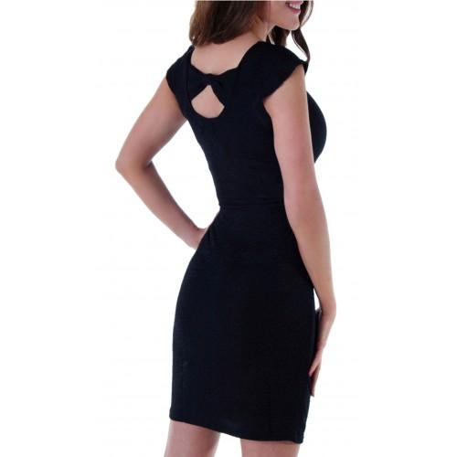 Sukienka mała czarna z kokardą P204