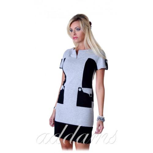 Sukienka dzianinowa wysmuklająca boki P207