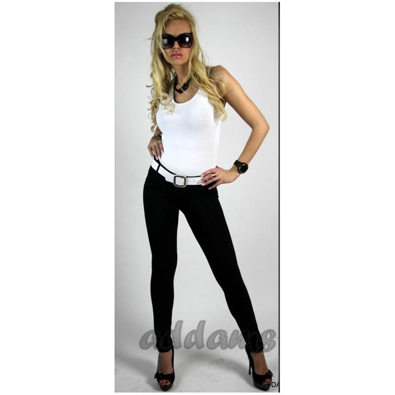 Modne legginsy z kieszeniami i szlufkami P403