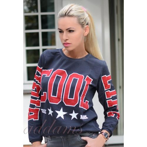 Asymetryczny sweter- bluzka stylowy napis COOL P632