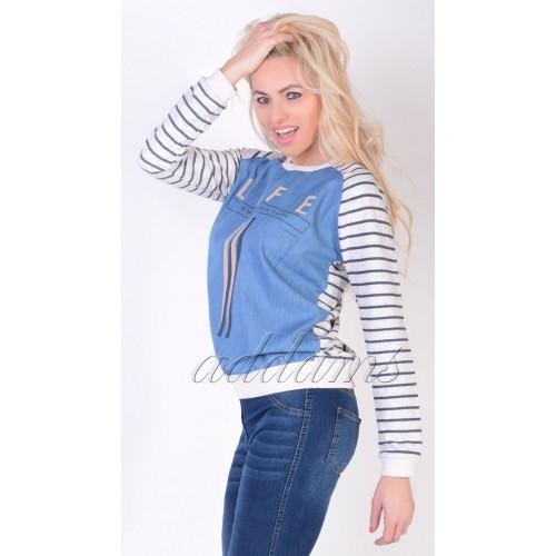 Markowy jeansowy sweterek P641
