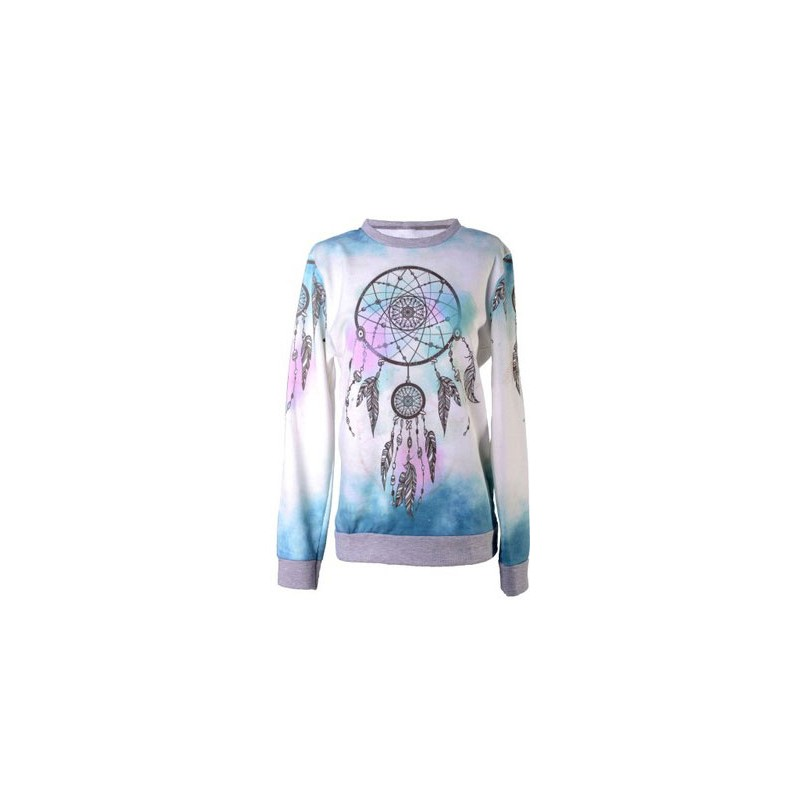 Sweter miętowy ombre piórko P668
