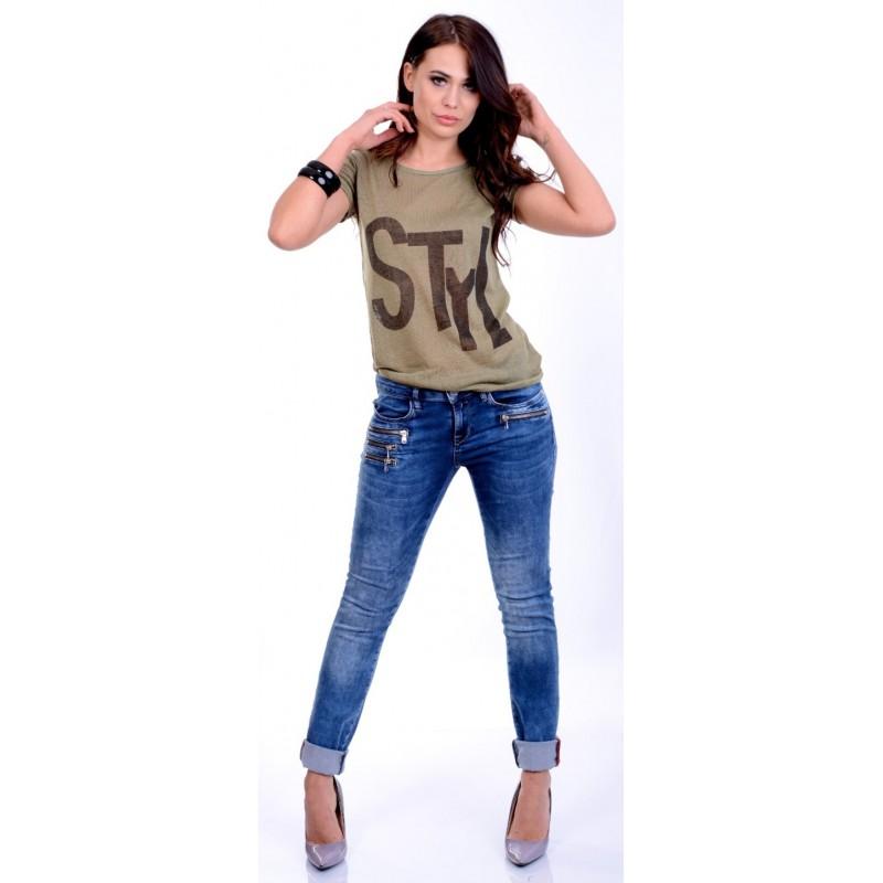 Bawełniana bluzka T-SHIRT napis P681
