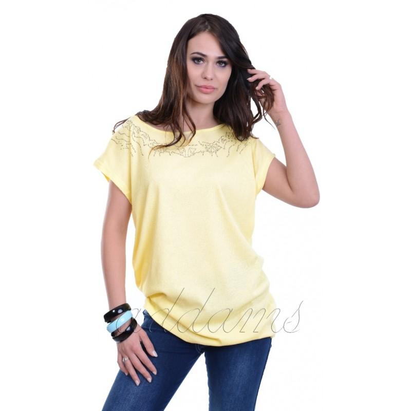 Piękna perforowana bluzka prążki 3D P687