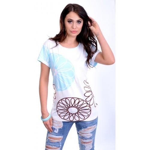 Modna pastelowa bluzka w stylowe wzory P690