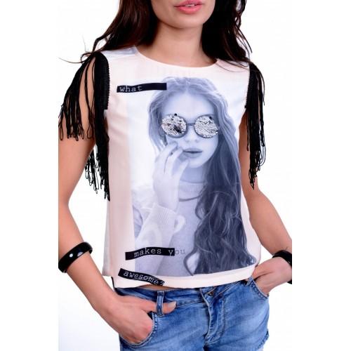 Modna markowa bluzka STRADIVARIUS ze stylowymi rękawkami P692